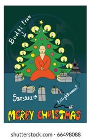 Fun hand-drawn postcard Buddhist