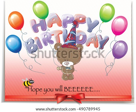 Fun Happy Birthday Card Cute Teddy Stock Vektorgrafik Lizenzfrei