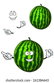 Fun happy cartoon watermelon character with a big grin waving and pointing his finger and a second plain variant with separate elements