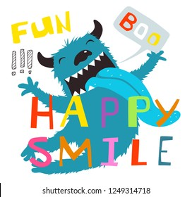 Fun Happy Smile Jumping Monster Lettering Design. Fun boo and happy smile lettering, character cartoon design.