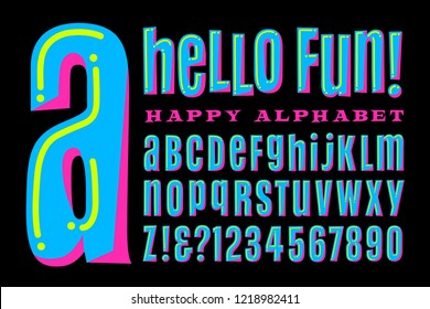 A fun, happy, and whimsical alphabet in bright colors. Hello Fun is a condensed sans serif font with mixed capital and lowercase letterforms for a crazy, silly vibe. Great for parties or birthdays.