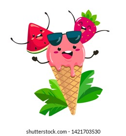 Fun ice cream with watermelon and strawberry in a cartoon style. Vector isolate on white background