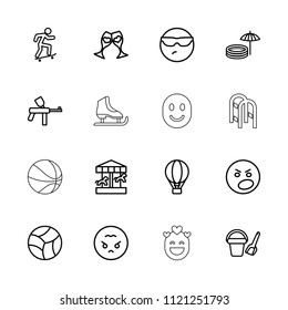 Fun icon. collection of 16 fun outline icons such as bucket toy for beach, cool emot in sunglasses, angry emot, angry emoji, paintball. editable fun icons for web and mobile.