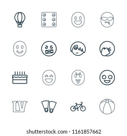 Fun icon. collection of 16 fun outline icons such as crazy emot, emo emot, flippers, cake, air balloon, bicycle, dice, vegas. editable fun icons for web and mobile.