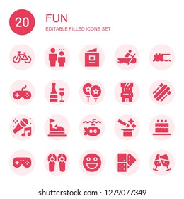 fun icon set. Collection of 20 filled fun icons included Bicycle, Child, Baby book, Rowing, Trampoline, Joystick, Champagne, Balloon, Arcade game, Skii, Karaoke, Bumper car, Submarine