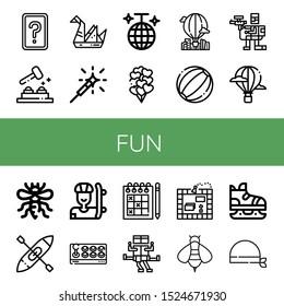 fun icon set. Collection of Card game, Whack a mole, Origami, Sparkler, Disco ball, Balloons, Hot air balloon, Beach ball, Paintball, Bee, Kayak, Skater, Joystick, Sudoku icons
