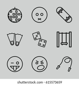 Fun icons set. set of 9 fun outline icons such as swing, skate board, sad emot, emoji showing tongue, angry emot, skipping rope, dice, flippers