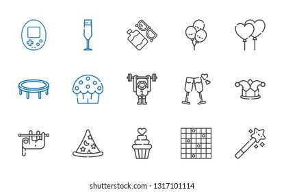 fun icons set. Collection of fun with magic wand, tic tac toe, cupcake, wizard, sloth, joker, cheers, monkey, cup cake, trampoline, balloons. Editable and scalable fun icons.