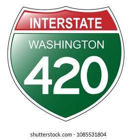 Fun Interstate 420 in the state of Washington, with green background.