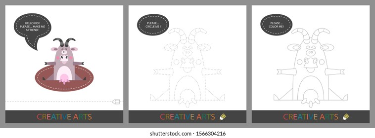 Fun Lessons for Kids - DIY. Set of cards for children's creativity. Original funny goat, character template for connecting by dots and silhouette for coloring - Vector
