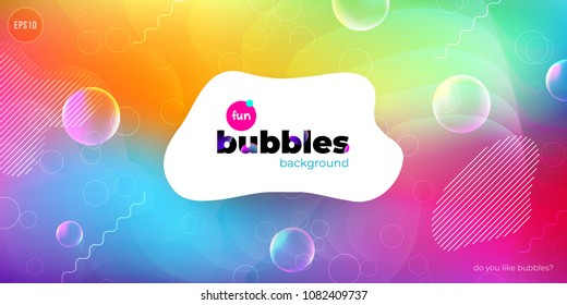 Fun liquid color background with bubbles. Fluid shapes composition. Children design pattern background. Eps10 vector.