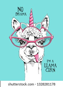 Fun Llama in a pink glasses and in a unicorn mask: ears, horn. No drama, i'm llamacorn - lettering quote. Humor card, t-shirt composition, hand drawn style print. Vector illustration.