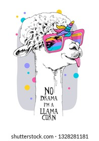 Fun Llama in a unicorn mask: rainbow glasses, horn, mane. No drama, i'm llamacorn - lettering quote. Humor card, t-shirt composition, hand drawn style print. Vector illustration.