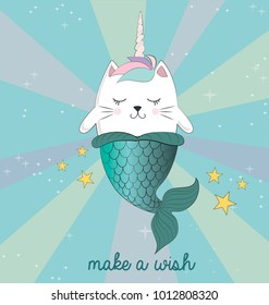 Fun magic cat unicorn and mermaid. Vector cartoon charters. Editable vector illustration.