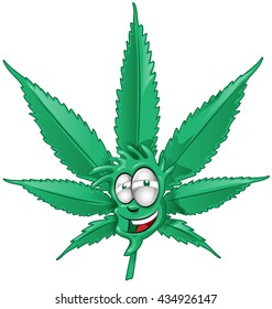 fun marijuana cartoon on white background
