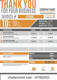Fun and modern customizable Invoice template design
