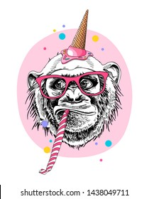 Fun Monkey in a ice cream party hat, in a glasses, and with a whistle blowing on a pink background. Happy birthday humor card, t-shirt composition, hand drawn style print. Vector illustration.