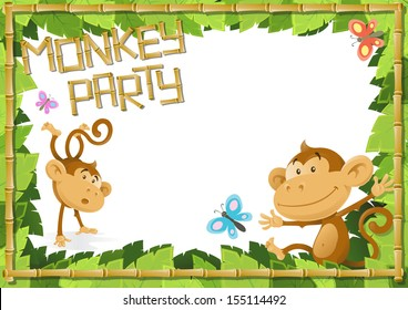 Fun Monkey Party Jungle Border.