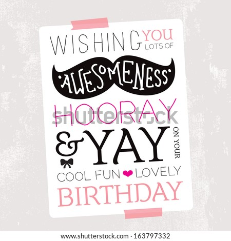 Fun Mustache Geek Illustration Birthday Card Stock Vector Royalty
