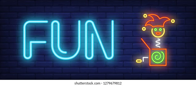 Fun neon text with jack in box toy. April Fools Day design. Night bright neon sign, colorful billboard, light banner. Vector illustration in neon style.