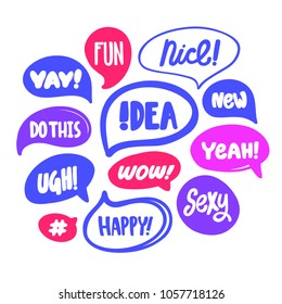 Fun, Nice, YAY, Idea, NEW, Yeah, Ugh, Wow, Happy, Sexy, hashtag. Bubble talk. Vector hand drawn calligraphic illustration. Pop art poster, t shirt print, social media blog content, card, blog cover