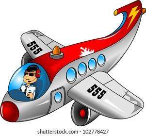 fun on a beautiful airplane pilot (vector illustration);