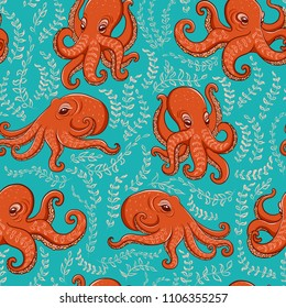 Fun orange octopus on turquoise background. Seamless pattern.