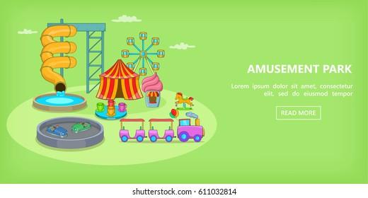 Fun park playground slide horizontal banner concept. Cartoon illustration of fun park playground slide vector horizontal banner for web