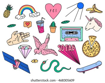Fun patch summer set. Vector illustration of Hand drawn unicorn, daimond, bird