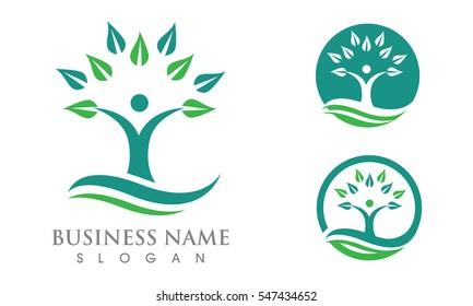 Fun people Healthy Life Logo template vector icon