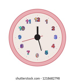 Fun  pink clock with colorful numbers