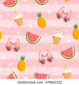 Fun pink summer seamless pattern, vector