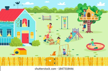 Fun playground at backyard, happy girl boy outdoor childhood, vector illustration. Child cartoon character in summer park outside. Cheerful kid playing at nature, children game at kindergarten.