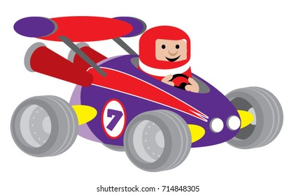 Fun race car, vector cartoon illustration in red and purple colors.