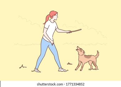 Fun, recreation, playing, friendship concept. Young smiling woman girl cartoon character walking with happy dog friend on summer countryside throwing stick. Leisure time activity pet love illustration