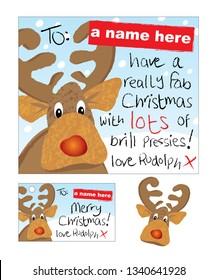 Fun Reindeer Christmas Card and Swing Tag set