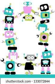 Fun Robots Border Cute and colorful robots linking together in a border with loads of space for your message or poster.