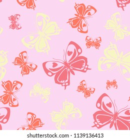Fun seamless butterfly iterative background isolated on contrast back layer. Flying butterfly repeat theme vector. Wildlife insect fauna artwork for wallpaper.