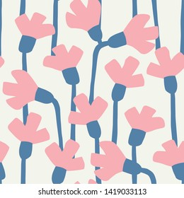 Fun seamless floral design. Repeat vector pattern. Easy to edit background for multiple projects.