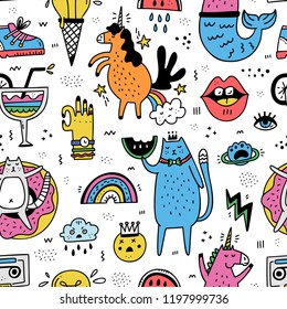 Fun seamless pattern illustration in cartoon style - perfect for bold background. Doodle illustration made in vector.
