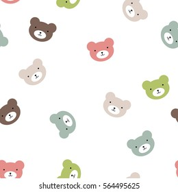 fun seamless pattern texture design bears for child themes on white background vector image