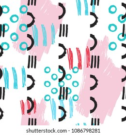 Fun Seamless Pattern with Unusual Shapes and Brush Strokes