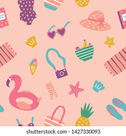Fun seamless summer vector repeat pattern design. Beach themed, fun for kids. With fun icons like heart shaped sunglasses, a flamingo and bathing suit. Suitable for all sorts of projects.