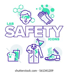 A fun set of 5 laboratory safety icons (safety glasses required, gloves required, no food or drink, lab coat required, closed toe shoes required).