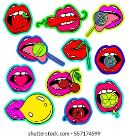 Fun set of female lips stickers, icons, emoji, pins or patches in cartoon 80s-90s pop comic style. Woman's mouth with strawberry, cherry, pepper, lemon, bubble gum, candy, lollipop and cocktail straw.