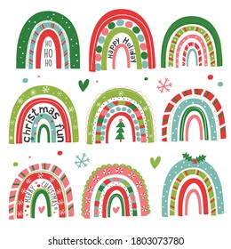 A fun set of festive rainbows and other christmas elements, 16 vector illustrations included in this seasonal clipart set.