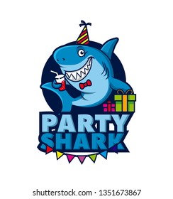 Fun Shark Mascot character logo template, with playful shark party and food