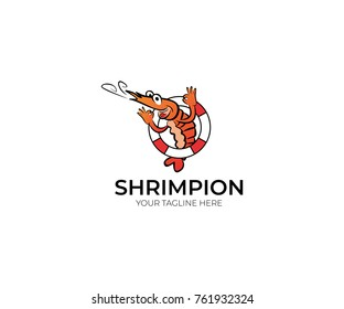 Fun Shrimp Logo Template.  Cartoon Seafood Vector Design. Sea Life Line Colorful Illustration