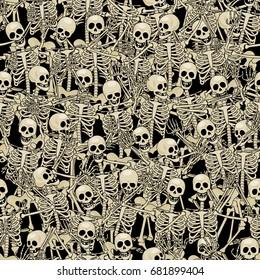 Fun skeletons. Seamless background. Eps8. RGB. Global colors. Gradients free.