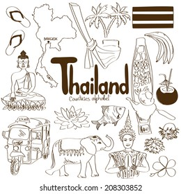 Fun sketch collection of Thailand icons, countries alphabet